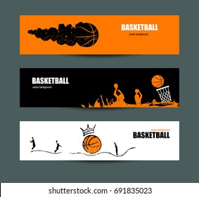 Vector designs for basketball, a collection of sports flyers for the game, a tournament. Sketches. Hand drawing. Ball with crown.