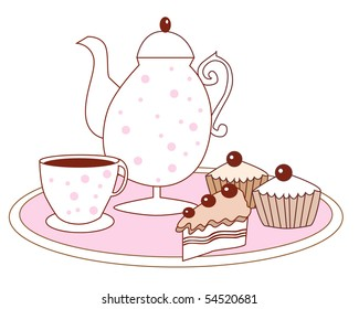 Vector dessert cake fruitcake coffee pot and coffee cup
