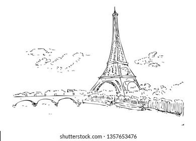 Vector Detail Black and white Manual Sketch Eiffel Tower cloud and gate at Paris