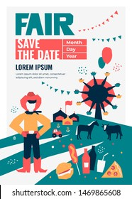 Vector detail illustration of State Fair. Event poster with food market,ferris wheel, farm animals, farmer,country fair. Design template for invitation,landing page, banner,print, flyer. Save the date
