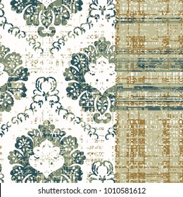 Vector, detailed abstract texture or grunge ;  For art texture, vintage, ethnic , modern damask pattern ,checked ,  carpet, rug,  scarf, clipboard , shawl pattern. colors are green and gold
