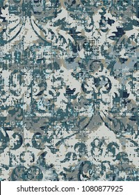 Vector, detailed abstract texture or grunge ; For art texture, vintage, ethnic , modern damask pattern , carpet, rug, scarf, clipboard , shawl pattern. colors are blue and beige