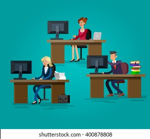 Vector detailed character corporate business team people  sitting behind desk. Office workers. Men and women, cool flat  illustration