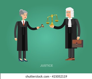 Vector detailed character the judge, cool flat judge illustration