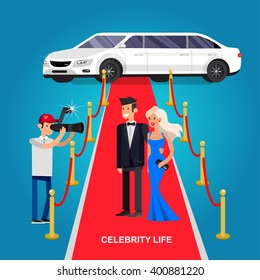 Vector detailed character rich and beautiful celebrities, man in tails and blond woman in evening dress walking on a red carpet with limousine
