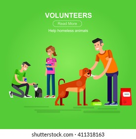 Vector detailed character Volunteer design concept with woman and a man feed dog and cat, veterinary care for homeless animal