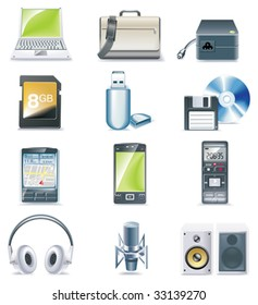 Vector detailed computer parts icon set. Part 3 of 5
