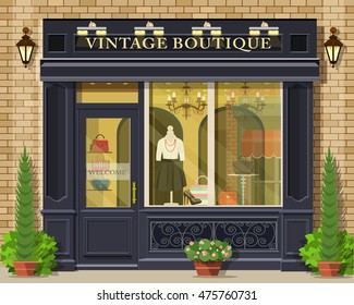 Vector detailed flat design vintage boutique facade. Cool graphic fashion shop exterior.