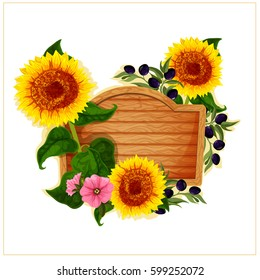 Vector detailed floral frame with wooden desk and Petunia,olives and a sunflower. Colored illustration. Detailed floral background isolated on white.