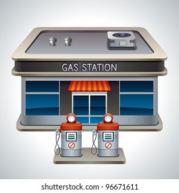 Vector detailed illustration of gas station. XXL icon
