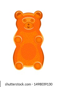 Vector detailed illustration of orange gummy bear or jelly bear. Children's fairytale candy. Childlike bear isolated on a white background. Illustration can be also used as a plush toy for children.