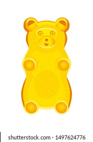 Vector detailed illustration of yellow gummy bear or jelly bear. Children's fairytale candy. Childlike bear isolated on a white background. Illustration can be also used as a plush toy for children.