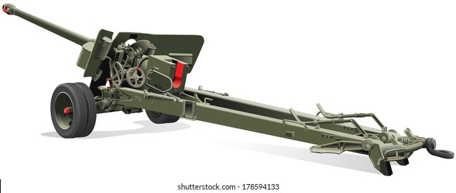 Vector detailed image of field gun of times of World War II, isolated on white background. File contains gradients. No blends and strokes.