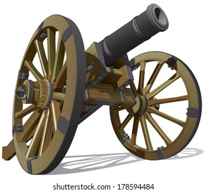 Vector detailed image of typical field gun of times of American Civil War, isolated on white background. File contains gradients, blends and transparency. No strokes. Easily edit.