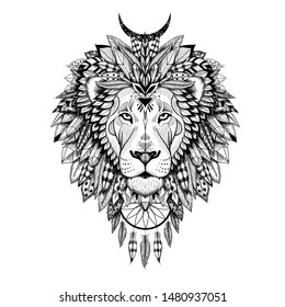 Vector detailed lion in aztec style.