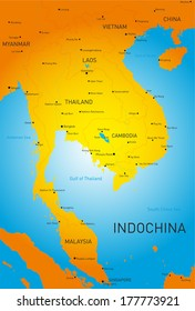 Vector detailed map of Indochina countries