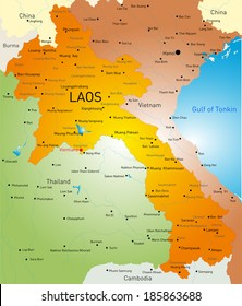 Vector detailed map of Laos country