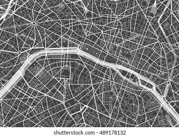 Vector detailed map Paris