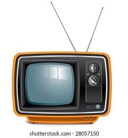vector detailed retro tv set