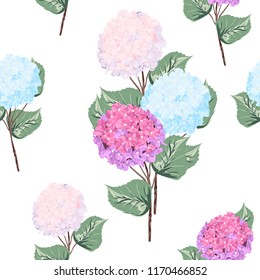 Vector detailed seamless pattern of hydrangea flowers on white background. Can be used as wedding element, floral design, greeting cards.