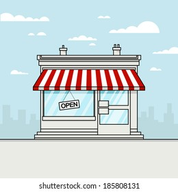 Vector Detailed Shop, Market, Store, Cafe, Barbershop, Grocery Illustration, Icon With stroke, Outline Effect. Isolated On Cityscape Background.