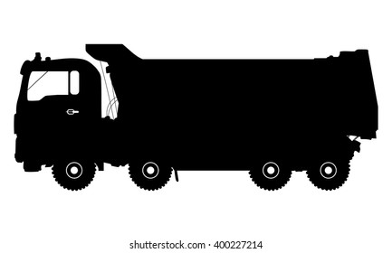 Vector detailed silhouette of truck isolated on white. Vector illustration