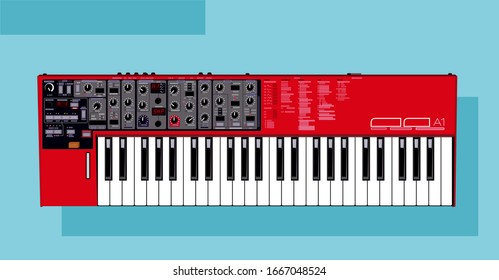 Vector detailed synthesizer. Nord lead A1 illustration. Red synthesizer. Black and white keys in vector. Concert Equipment. For an artist rider. Image to print. Vector for t-shirts, bags smartphone.
