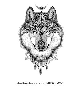 Vector detailed wolf in aztec style.