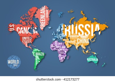 Vector detailed world map with borders and country names. Education, business, science and travel infographic concept.