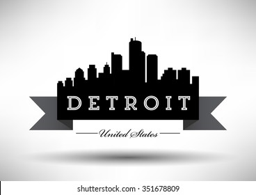 Vector Detroit Skyline Design