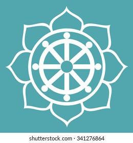 Vector Dharma Wheel in Lotus Flower
