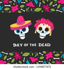 Vector Dia de Los Muertos, Day of the Dead or Mexico Halloween greeting card, invitation. Decoration with skulls and flowers. Vector illustration background.