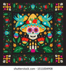 Vector Dia de Los Muertos, Day of the Dead or Mexico Halloween greeting card, invitation. Decoration with scull in sombrero hat and flowers. Vector illustration background.