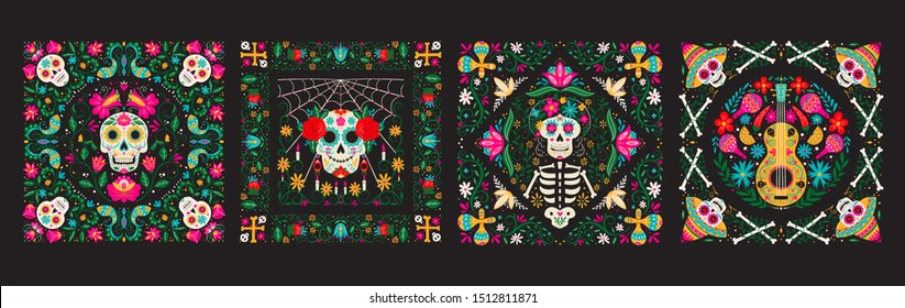 Vector Dia de Los Muertos, Day of the Dead or Mexico Halloween illustration set. Decoration with skeletons, sculls, maracas, guitar, candles and flowers. Vector illustration background.