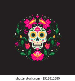Vector Dia de Los Muertos, Day of the Dead or Mexico Halloween greeting card, invitation. Decoration with skull and flowers. Vector illustration background.