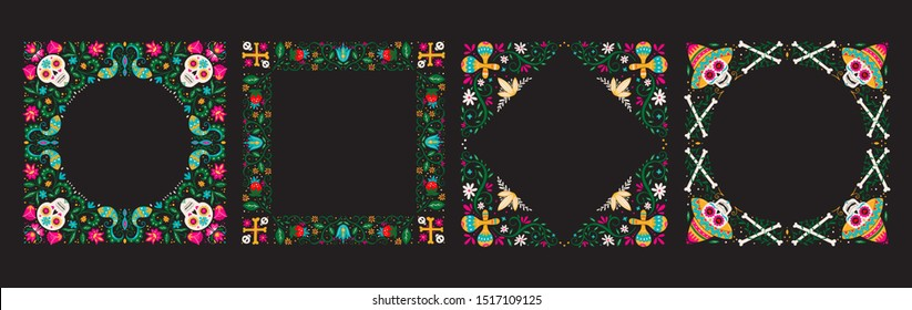 Vector Dia de Los Muertos, Day of the Dead or Mexico Halloween frames collection. Decoration with sculls, maracas, sombrero and flowers. Vector illustration background.