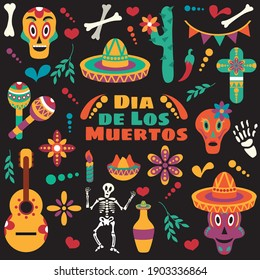 Vector Dia de Los Muertos. Set for the celebration of the day of the dead. Decorated skulls, flowers, skeleton, cactus, sambrero, tequila, guitar. Vector illustration background. Halloween.