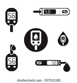 Vector diabetic set. Blood testing flat icons. Medical editable illustration in black color isolated on white background.
