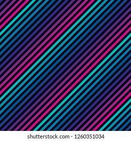 Vector diagonal stripes seamless pattern in bright colors. Retro 1980-1990's fashion style background. Trendy colorful slanted lines texture. Abstract geometric design template with gradient effect