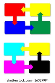 Vector diagram of looping CMYK and RGB squares