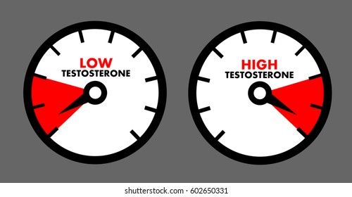 Vector of dial showing low / high level of male sex hormone called testosterone. Health problem connected with andropause and male menopause. Boosting of hormonal production