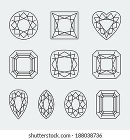 Vector diamond cuts icons set