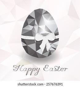 Vector diamond egg gray. Happy easter card. File format eps 10