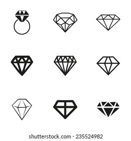 Vector diamond icons set on white background
