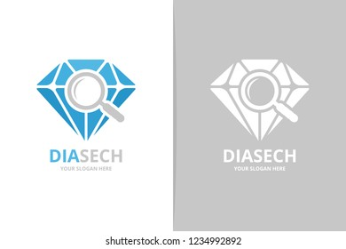 Vector diamond and loupe logo combination. Jewelry and magnifying symbol or icon. Unique gem and search logotype design template.