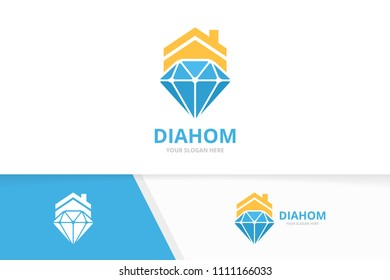 Vector diamond and real estate logo combination. Jewelry and house symbol or icon. Unique gem and rent logotype design template.