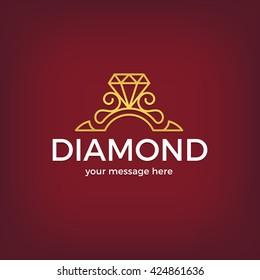 Vector diamond ring logo design. Abstract logo template. Vector illustration.