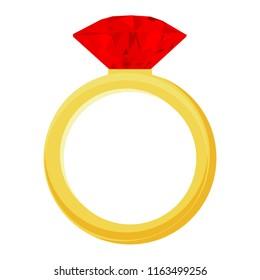 Vector diamond rubin Ring - wedding or engagement illustration, diamond ring symbol
