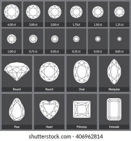 Vector diamond in various shapes made of editable strokes