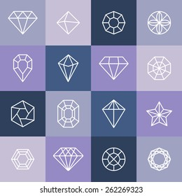 Vector diamonds and gems linear icons and logo design elements
